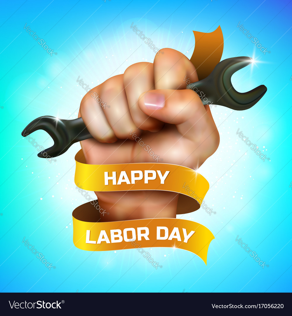 Happy labor day greeting card or banner design vector image