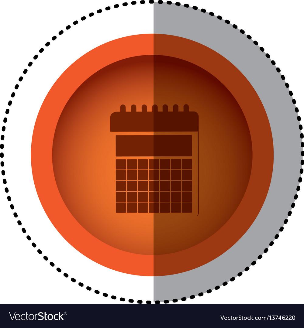 Orange round symbol calendar date icon vector image