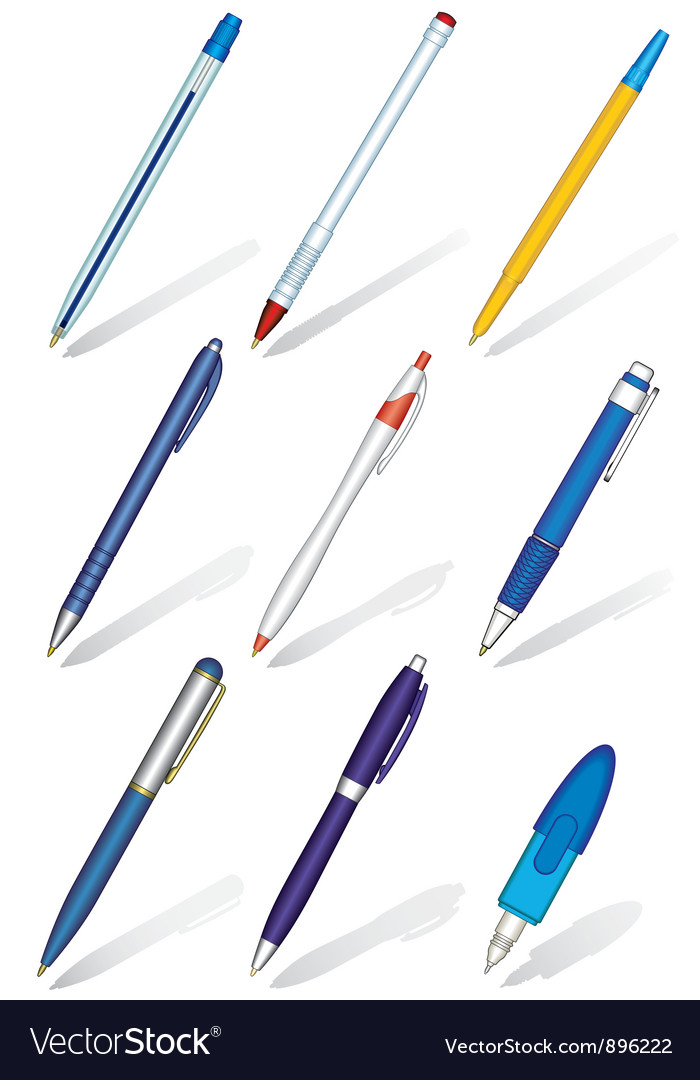 Pens collection vector image