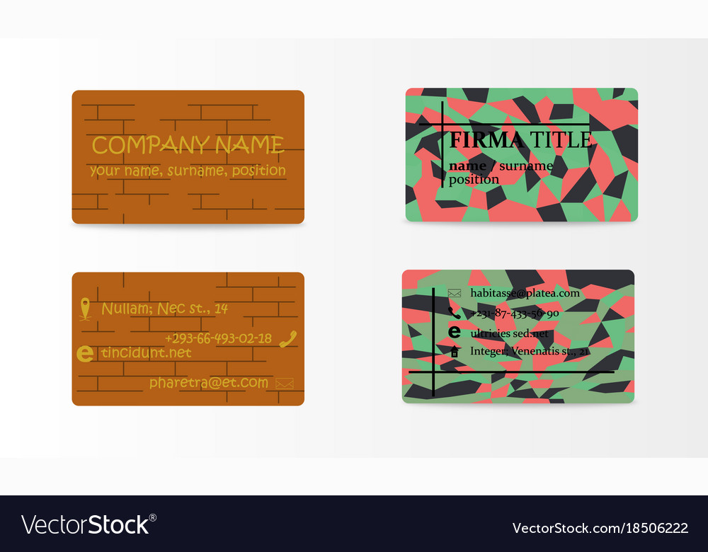 Variety of detailed horizontal business cards on vector image colourmoves