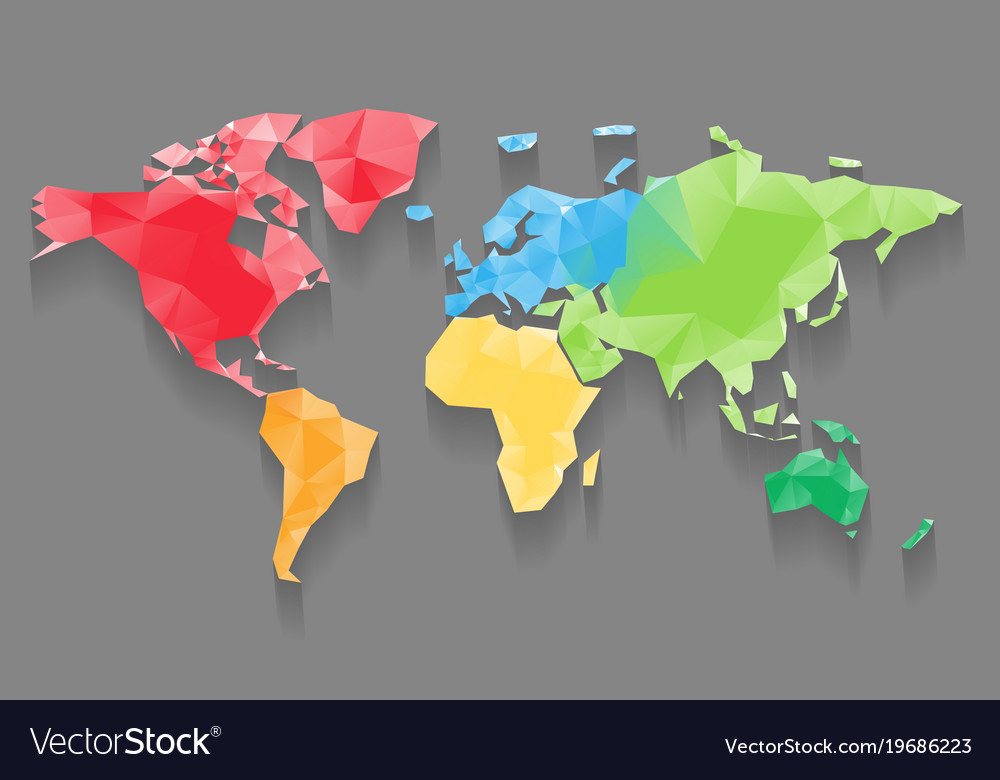 Low poly map of world divided into six continents vector image low poly map of world divided into six continents vector image gumiabroncs Choice Image