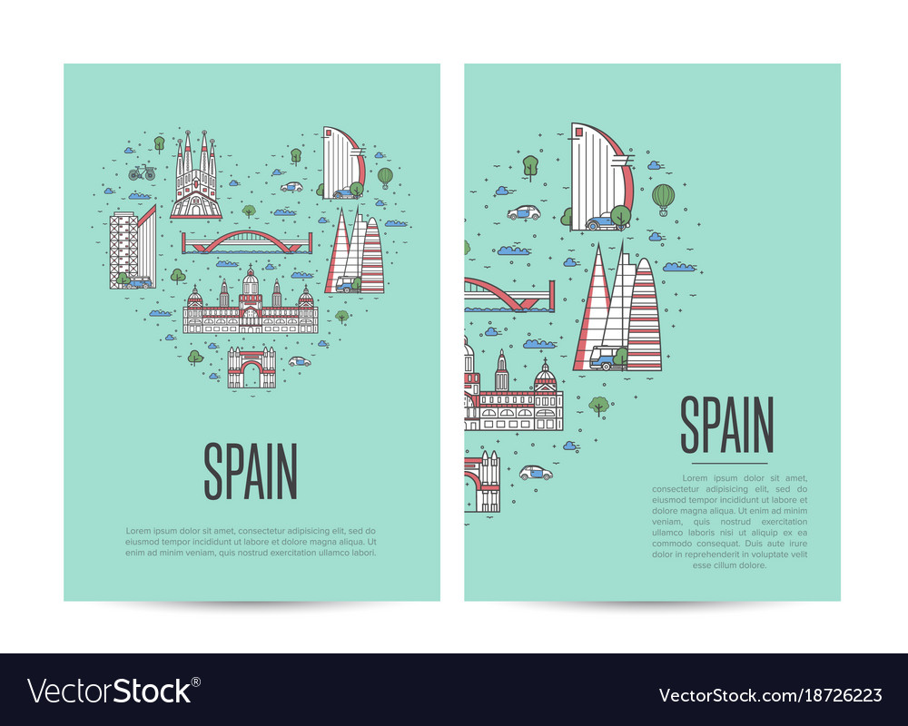 Spain travel tour booklet set in linear style vector image