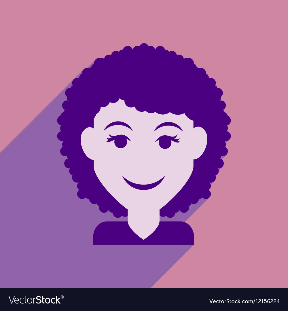 Flat web icon with long shadow women s haircut