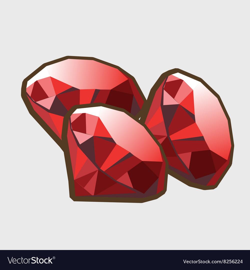Three stone ruby closeup vector image