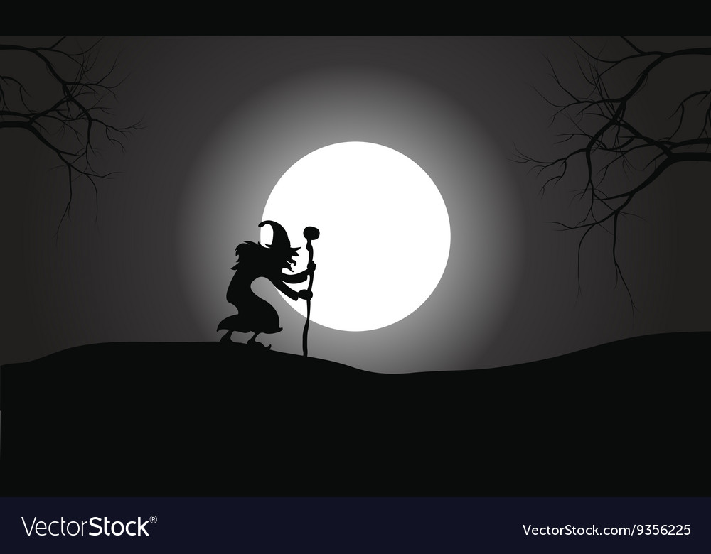 Silhouette of witch and full moon vector image