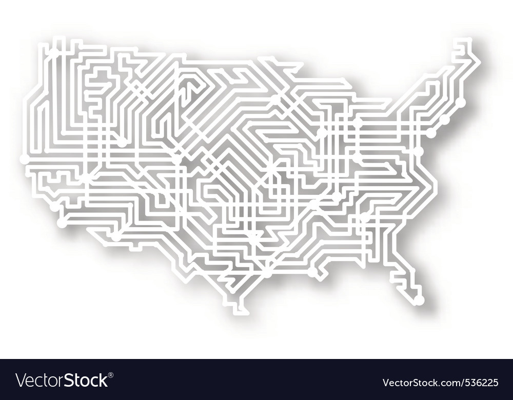 Stylized Usa Map Vector Image