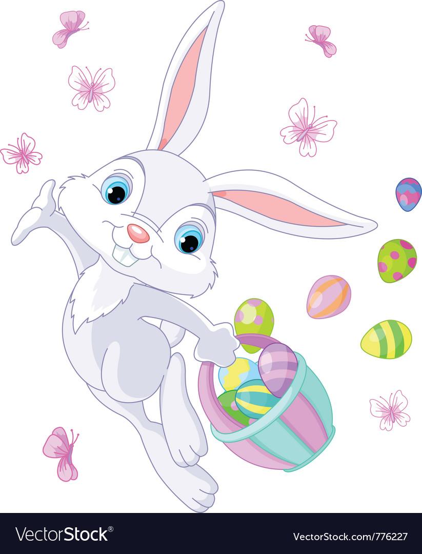 Bunny hiding eggs Vector Image