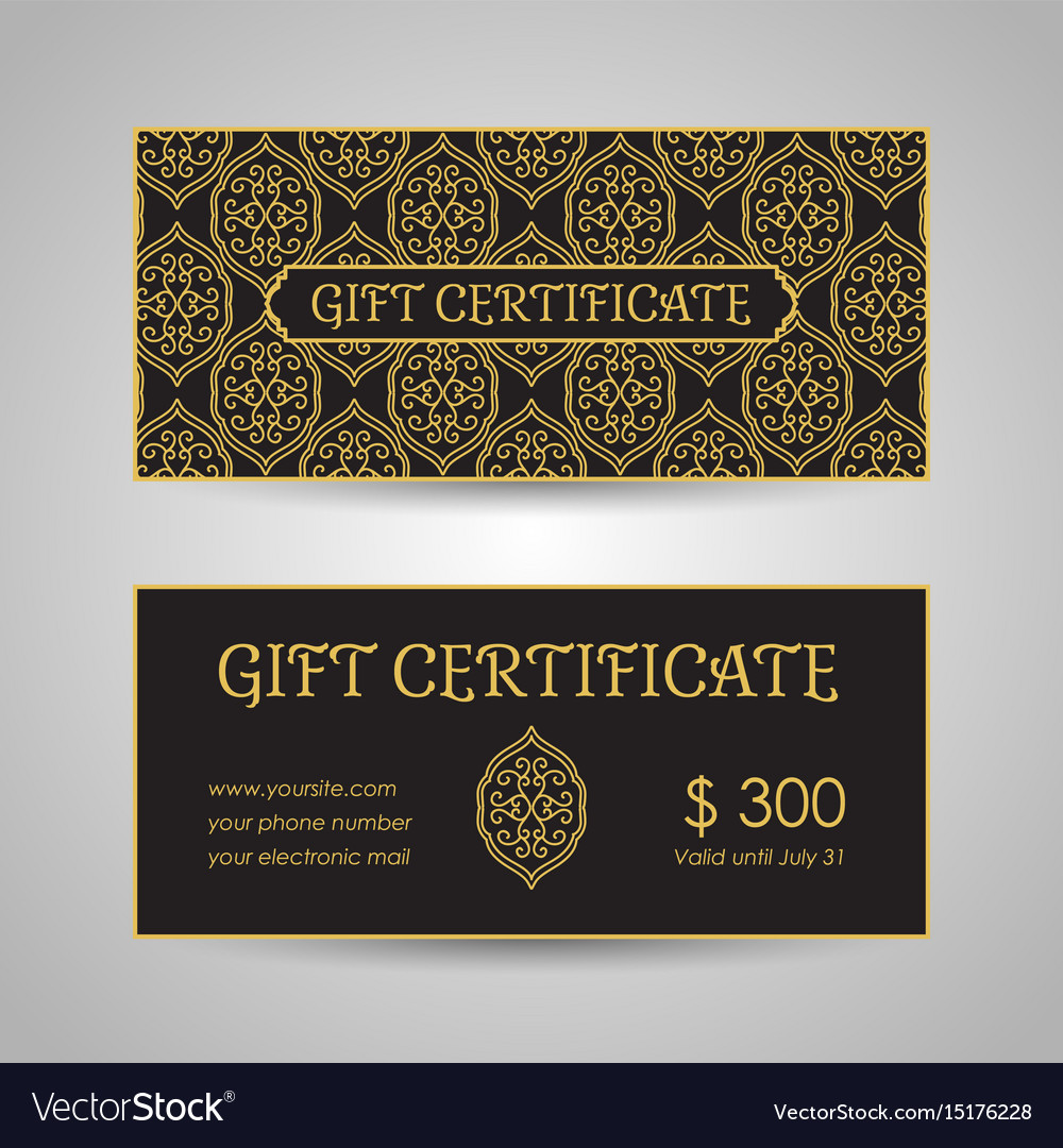 Arabic style gift certificate template royalty free vector arabic style gift certificate template vector image xflitez Choice Image
