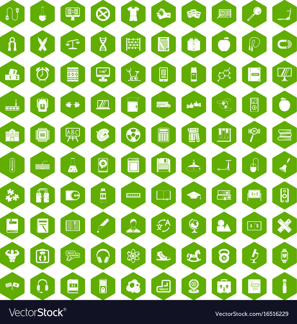 100 learning kids icons hexagon green vector image