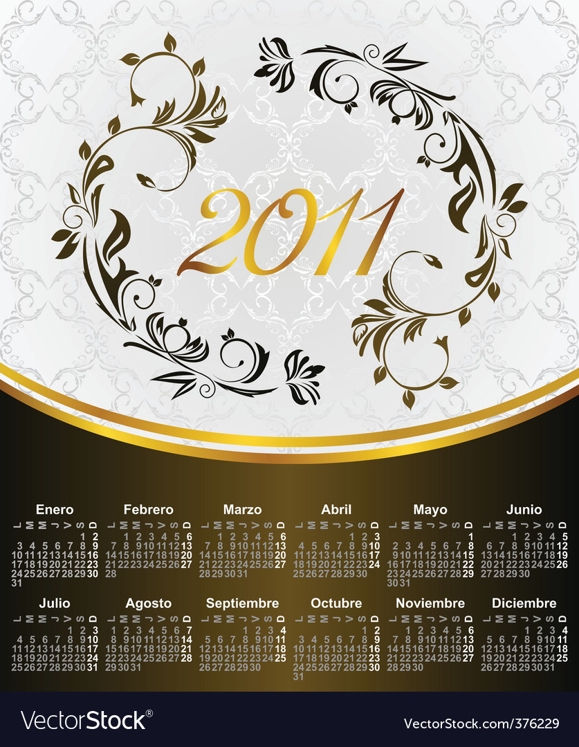 2011 in Spanish vector image