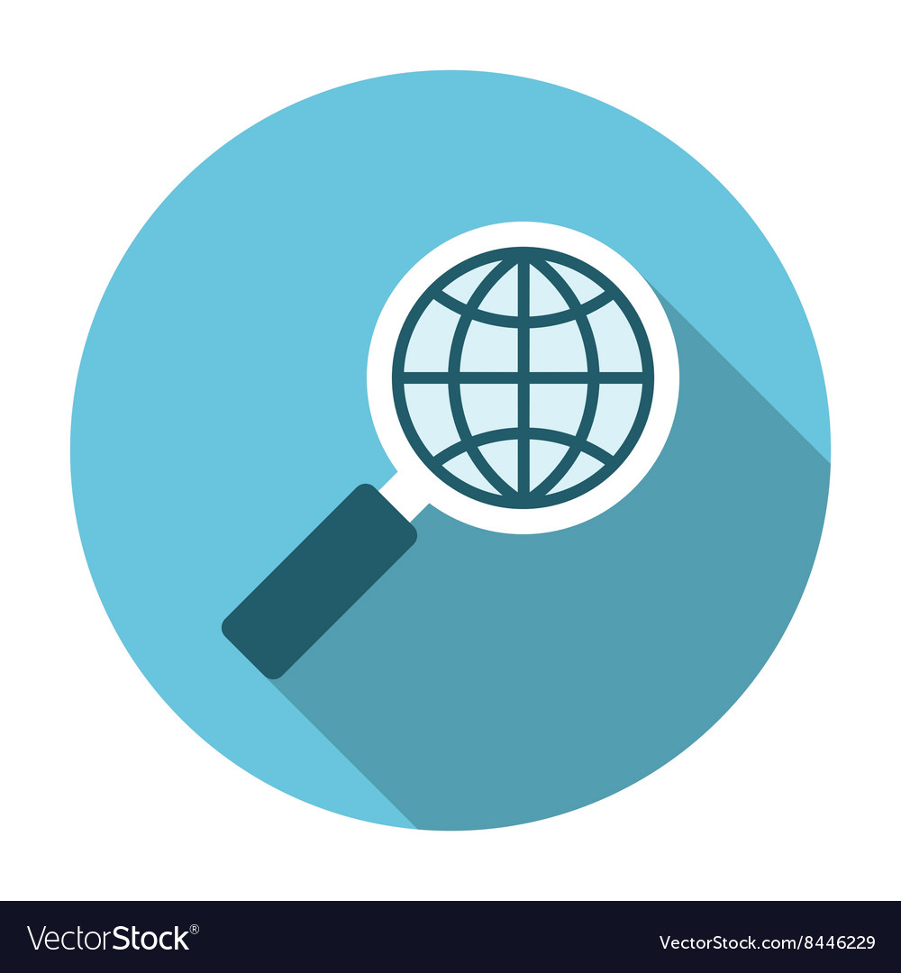 Magnifier glass with globe vector image