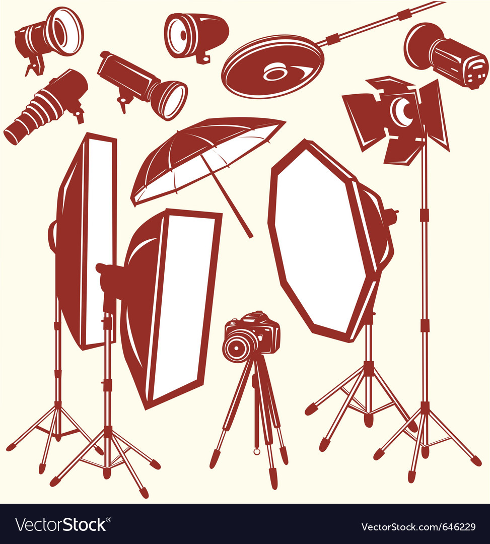 Set of photo studio equipment vector image