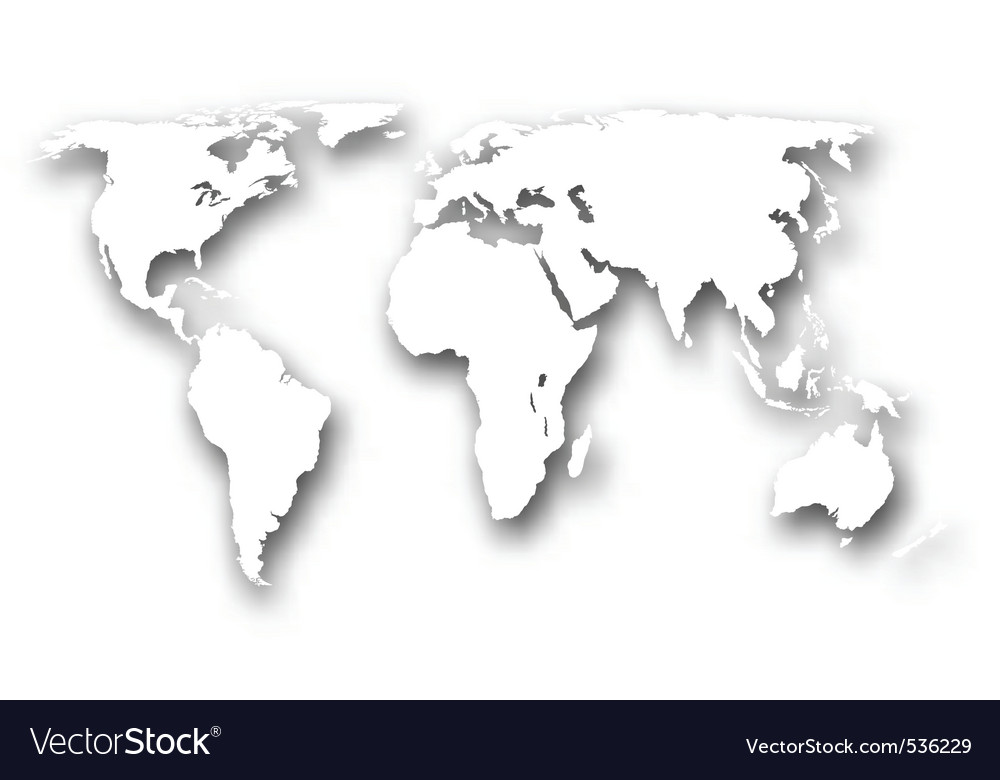 Stylized cutout world map Royalty Free Vector Image