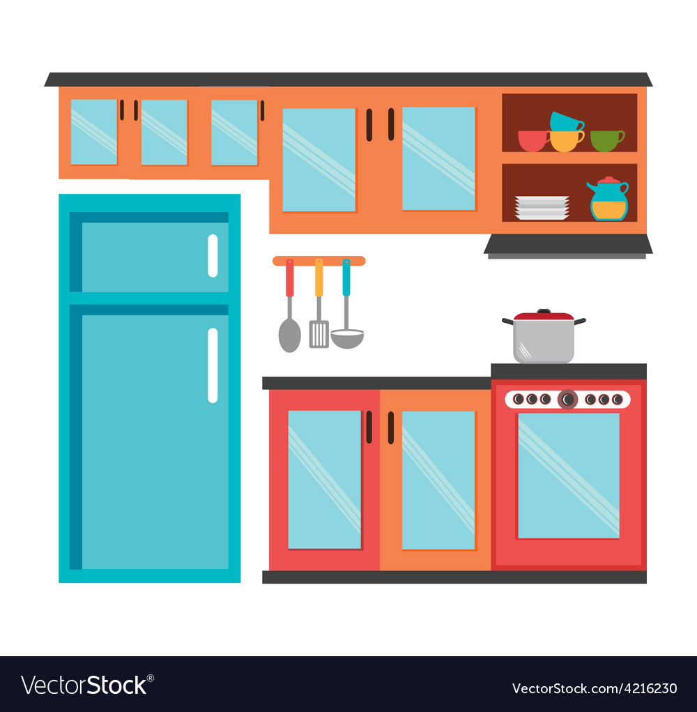 Kitchen design royalty free vector image vectorstock for Kitchen design vector