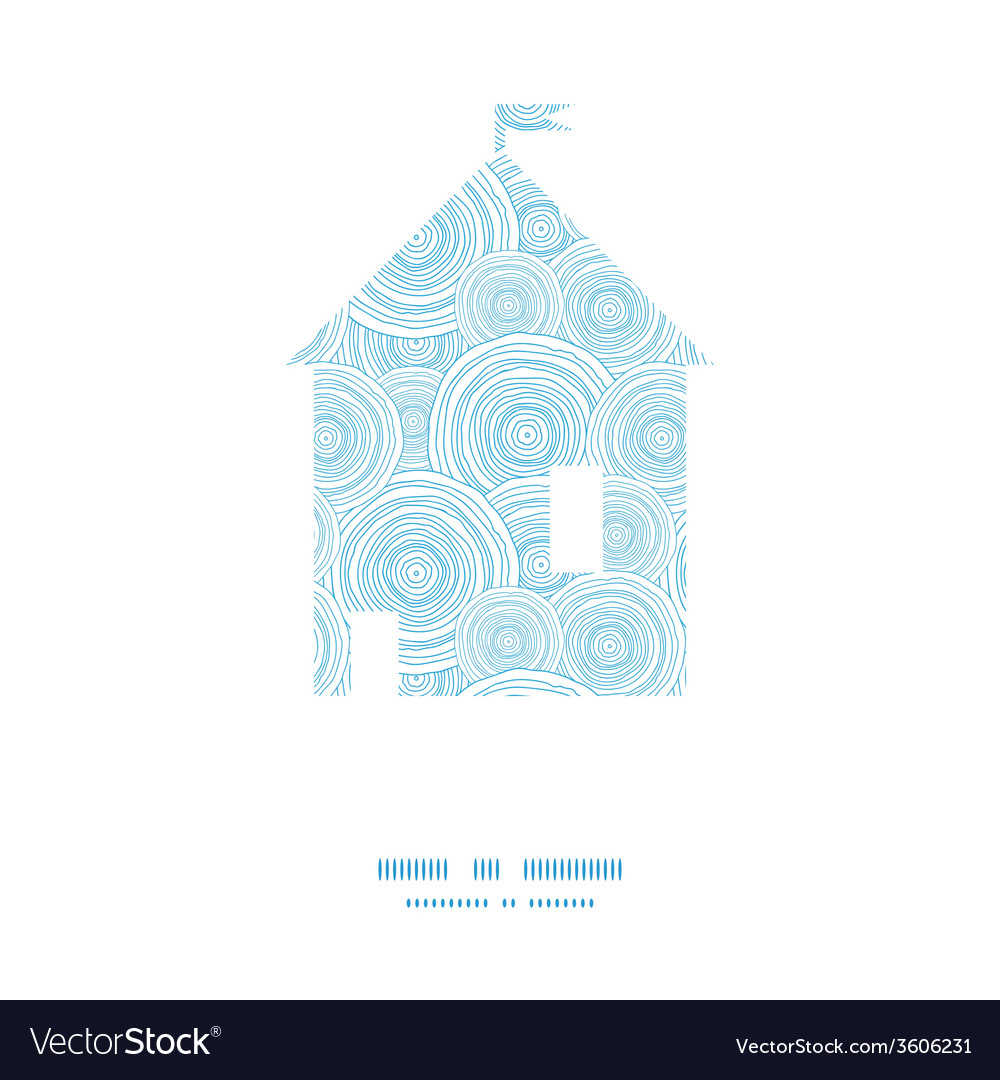 Doodle circle water texture house silhouette vector image