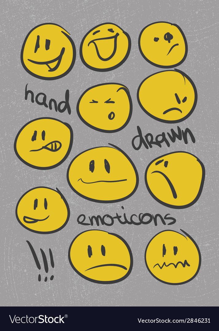 Emoticons set hand drawn eps8 vector image
