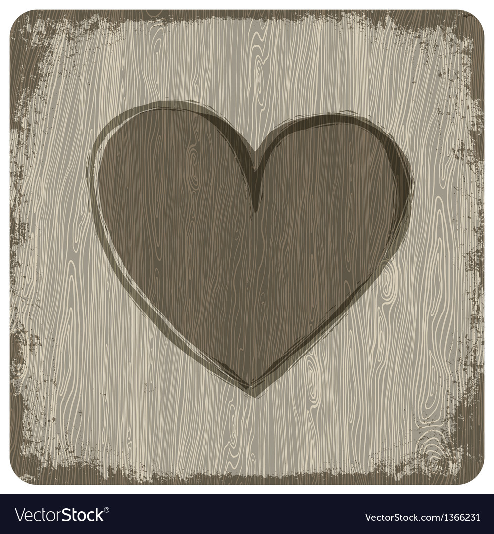Heart on wooden texture vector image
