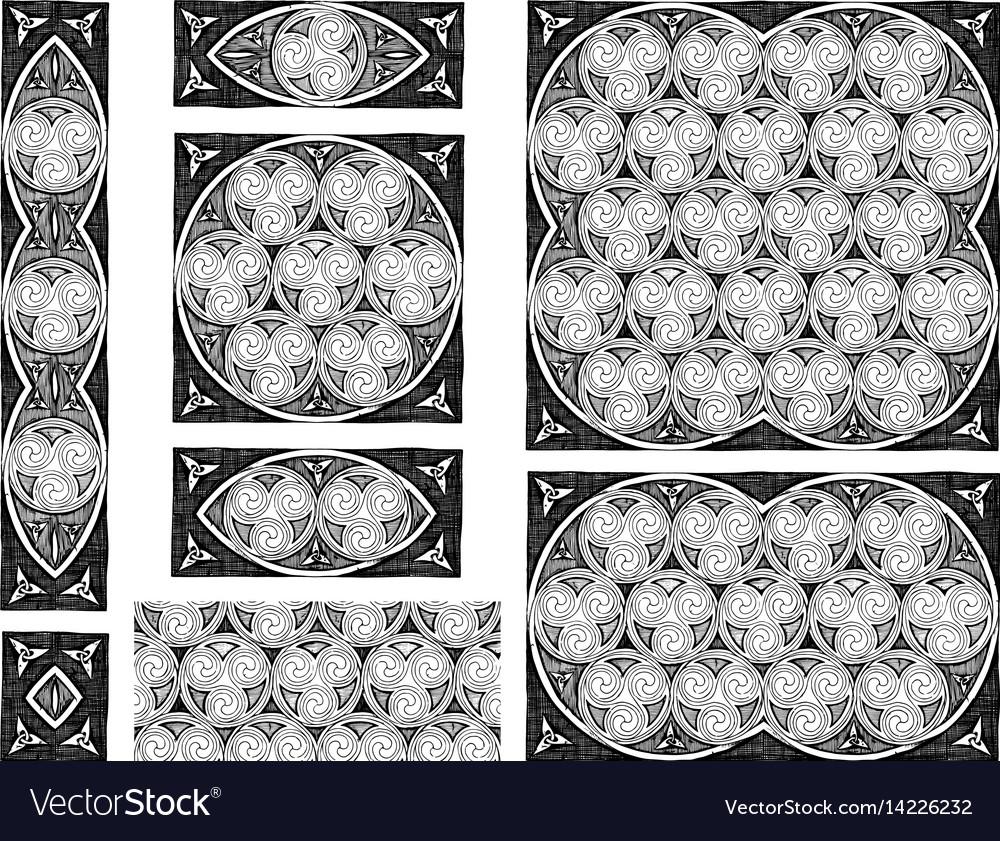 Celtic spirals designs vector image
