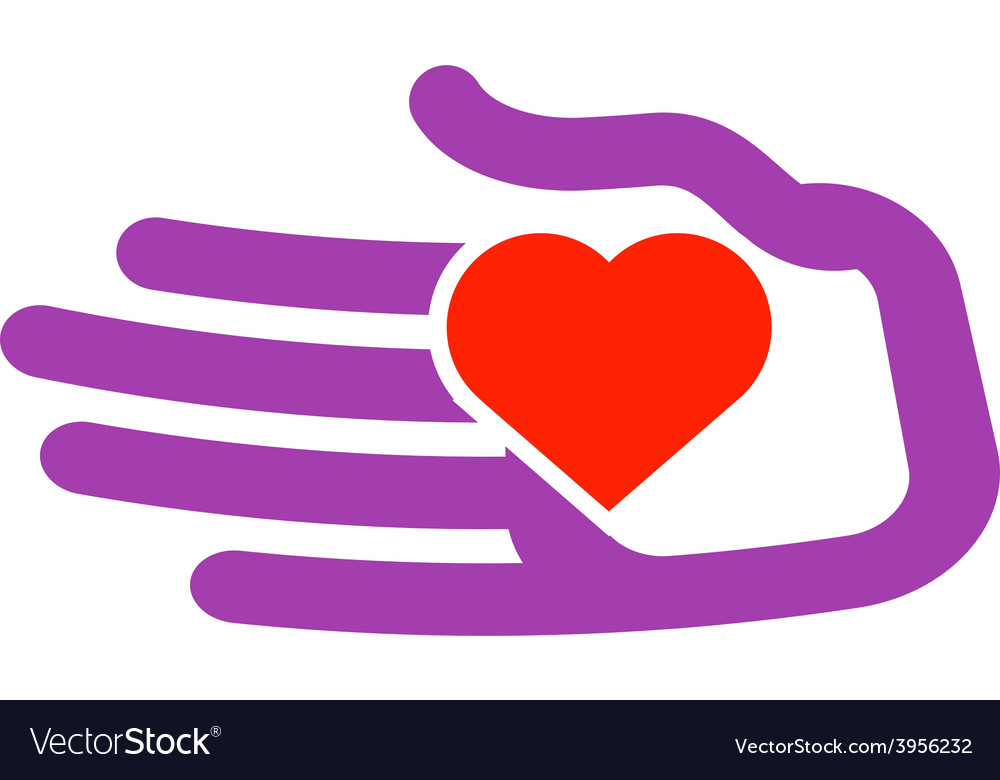 Hand and heart logo design template vector image