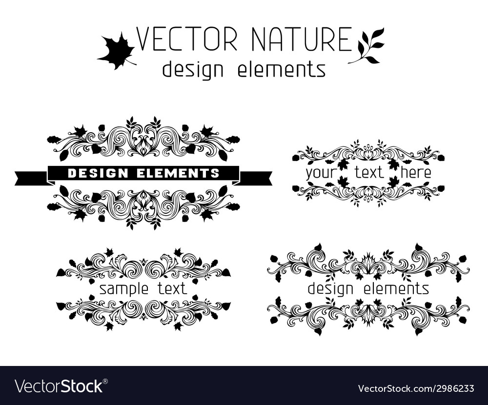 Set of nature page decorations and dividers vector image