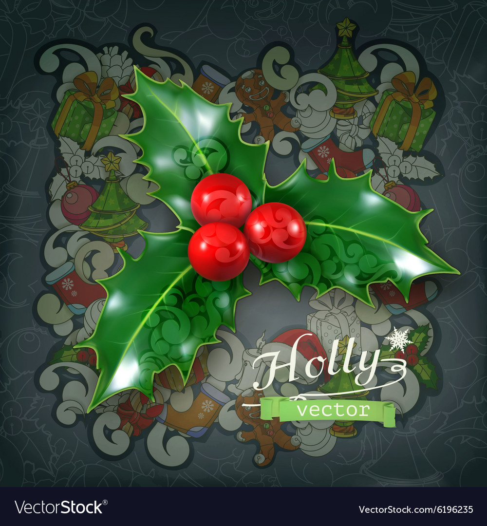 Why is holly a traditional christmas decoration - Holly Traditional Christmas Decoration Icon Vector Image