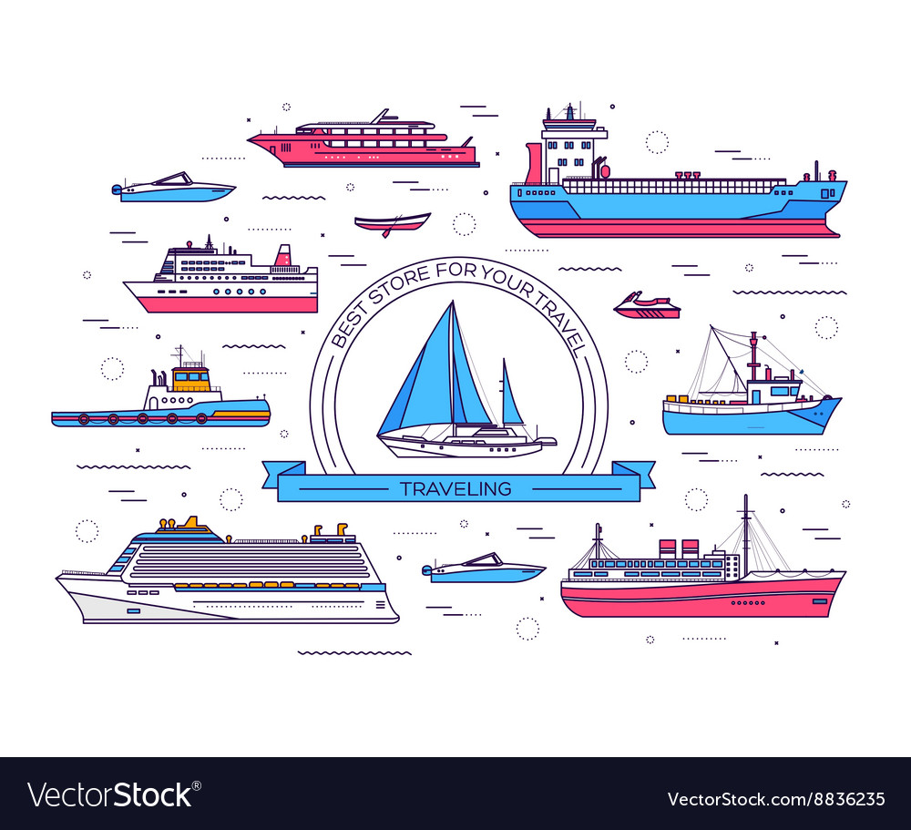 Set of thin line ship Ship vector image