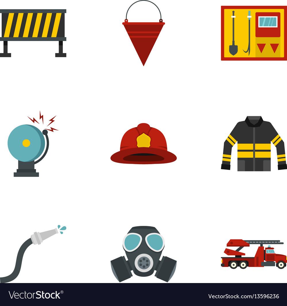 Fireman icons set flat style vector image