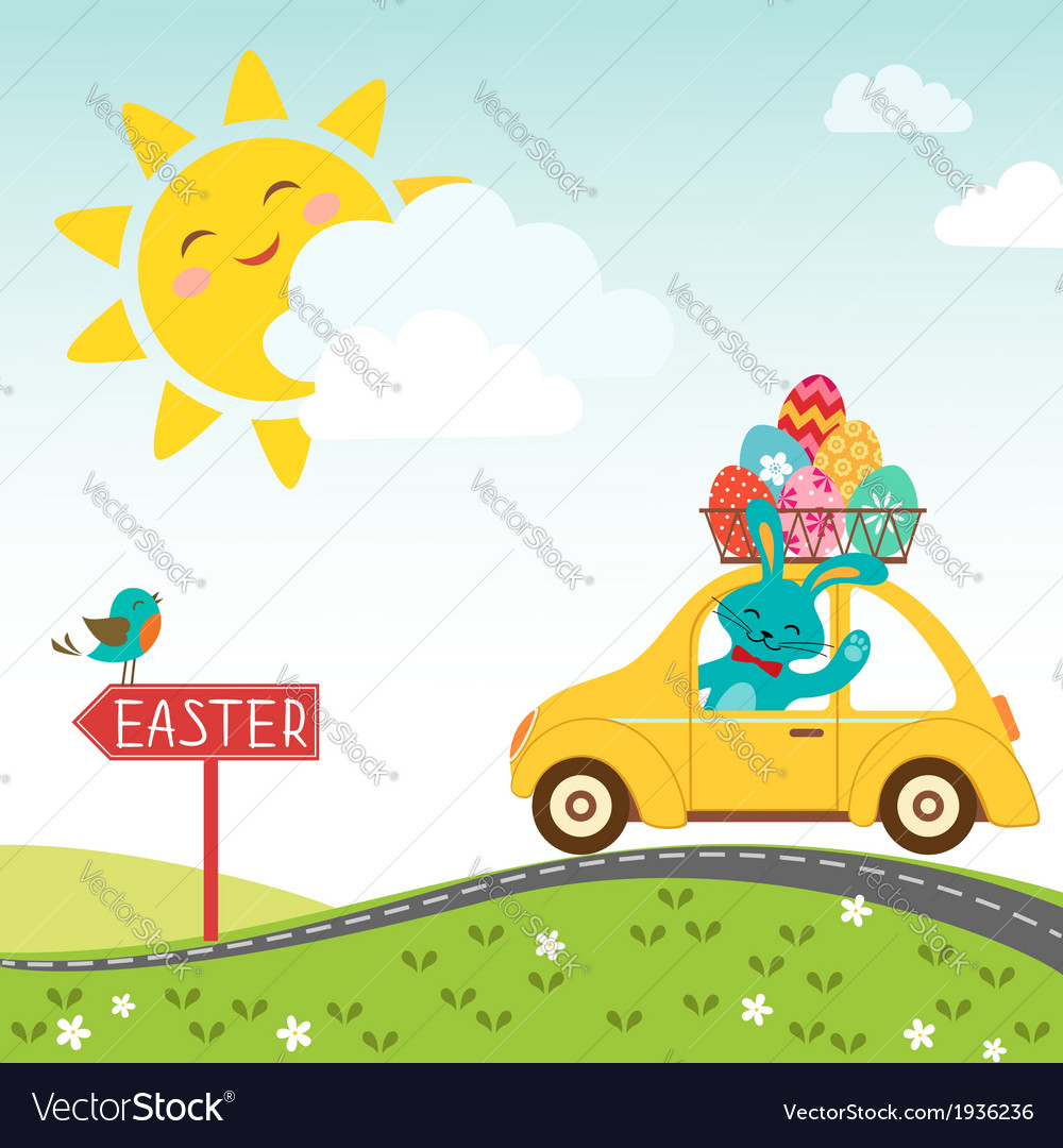 Road to happy Easter vector image