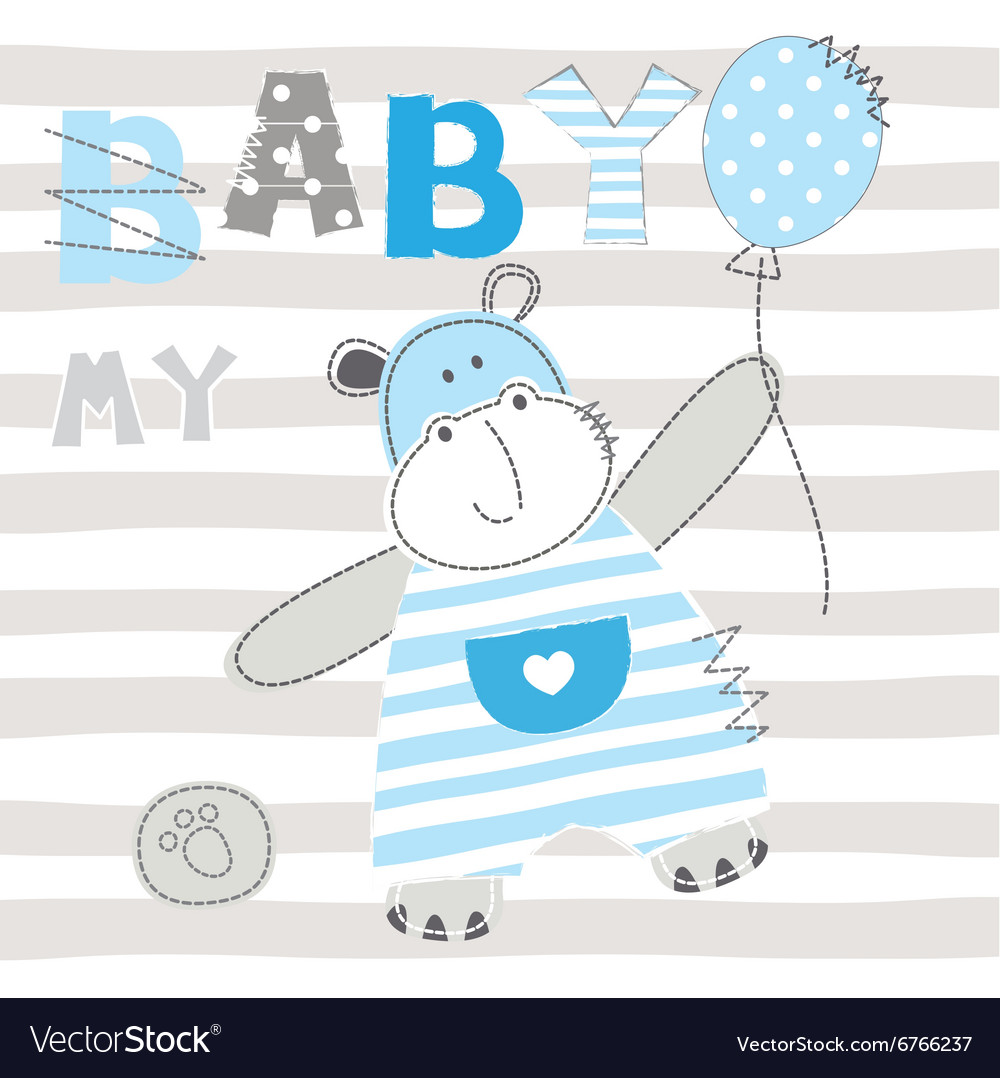 Baby background with cute little hippo vector image
