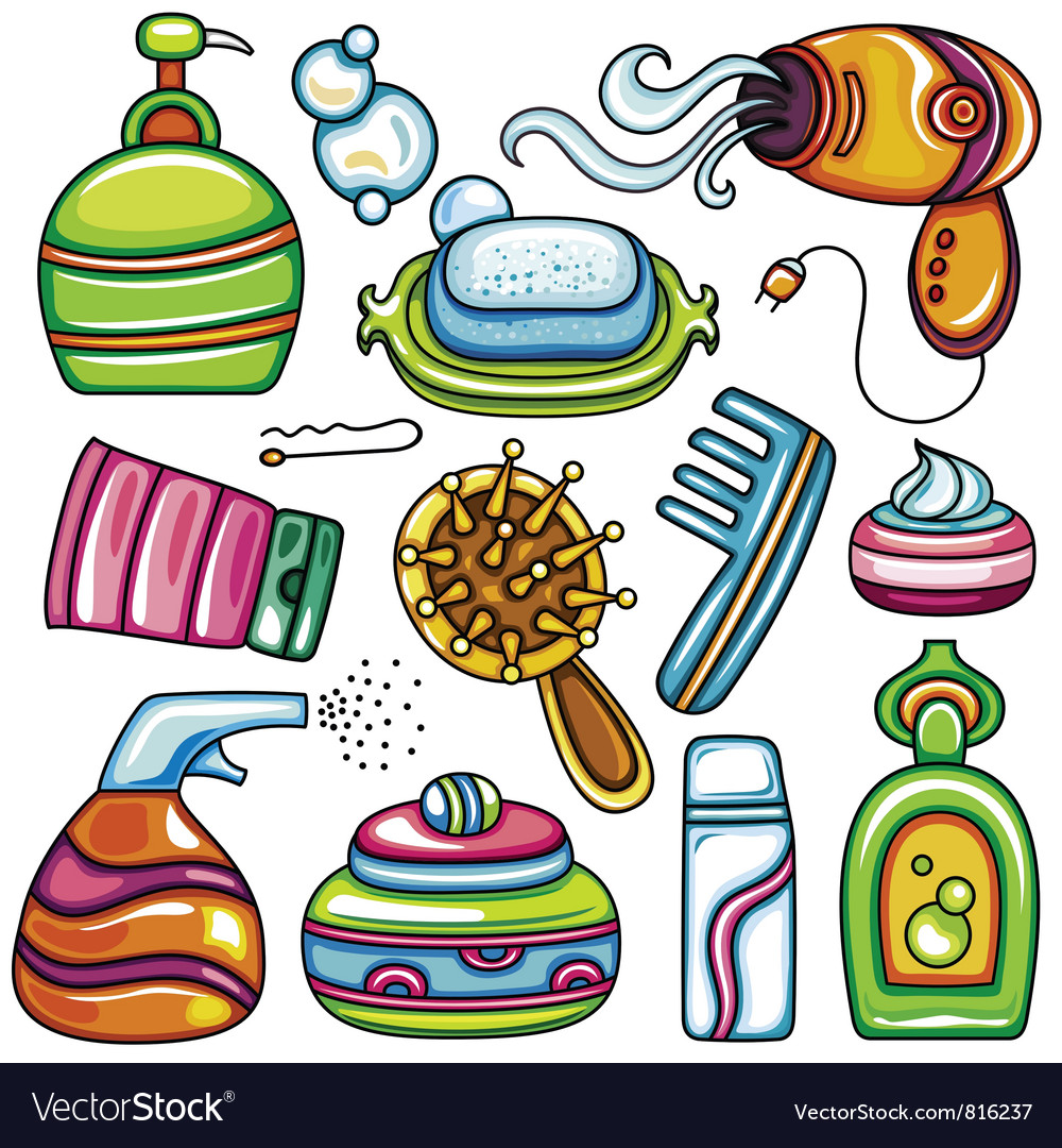 Icon set hygiene accessories vector image
