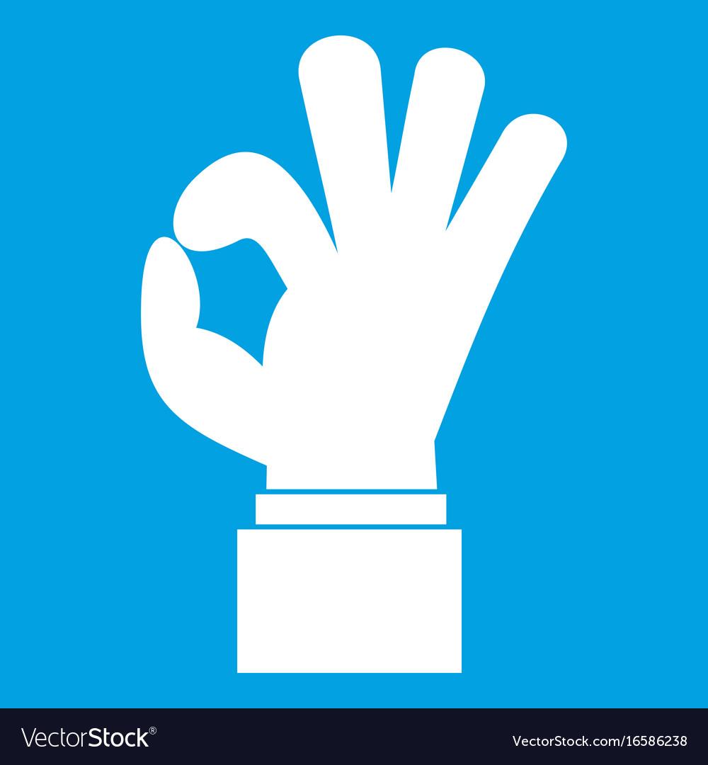 Ok gesture icon white vector image