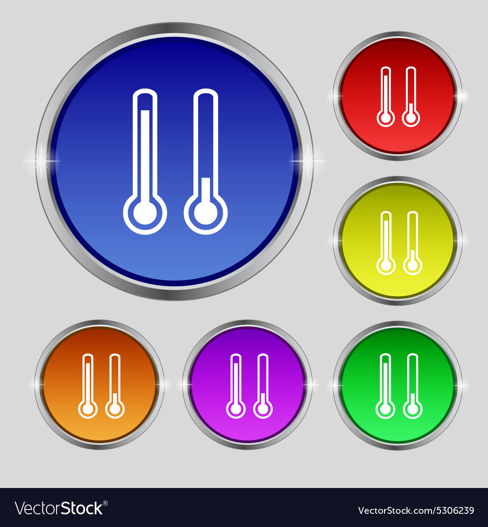 Thermometer temperature icon sign Round symbol on vector image