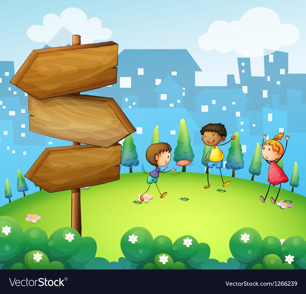 Three kids playing in the hill with wooden vector image