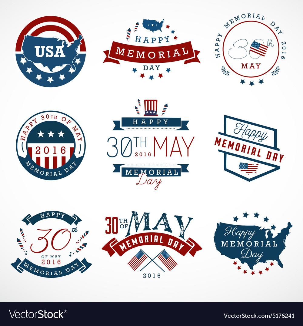 Set of memorial day labels Royalty Free Vector Image
