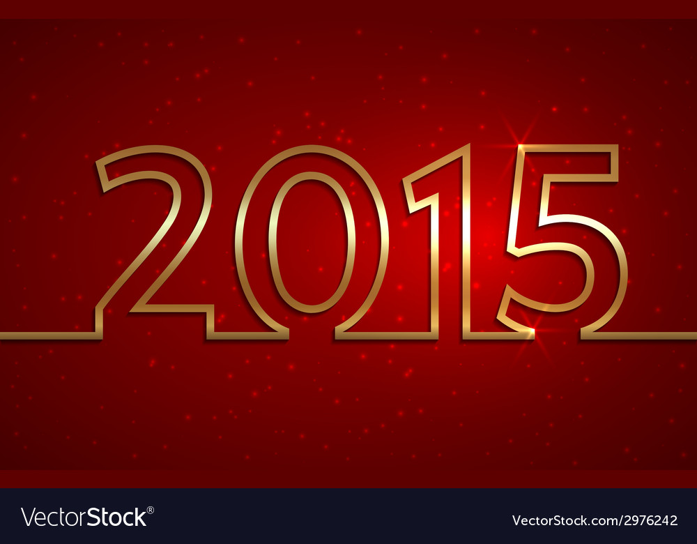 2015 new year red greeting billboard with golden vector image