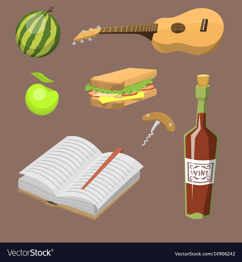 Picnic basket with food relaxation vacation vector image