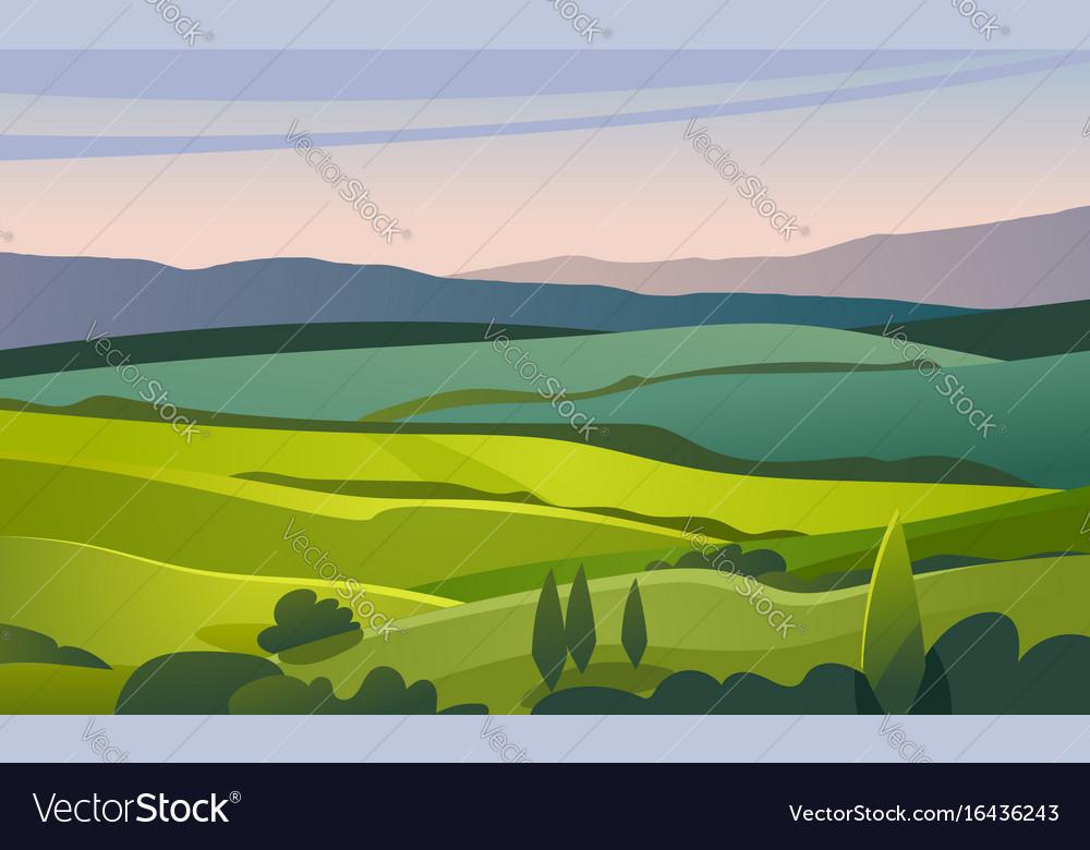 Green valley landscape vector image