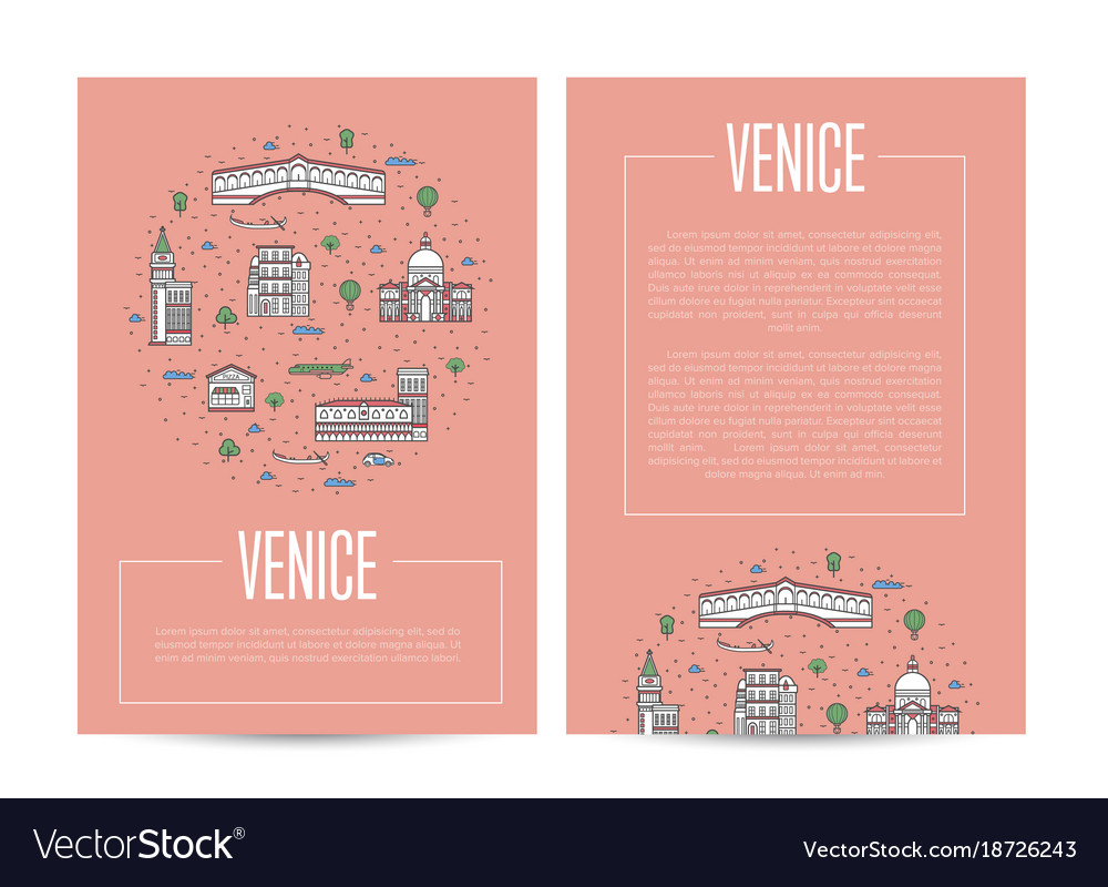 Venice city traveling advertising in linear style vector image