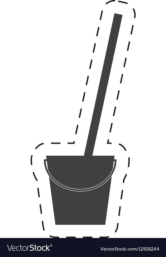 Bucket mop cleaning cutting line vector image