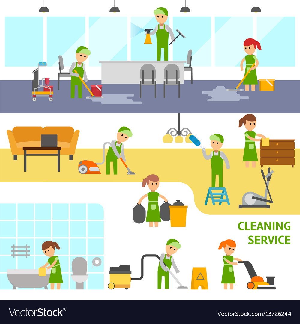 Cleaning service infographic elements cleaners vector image