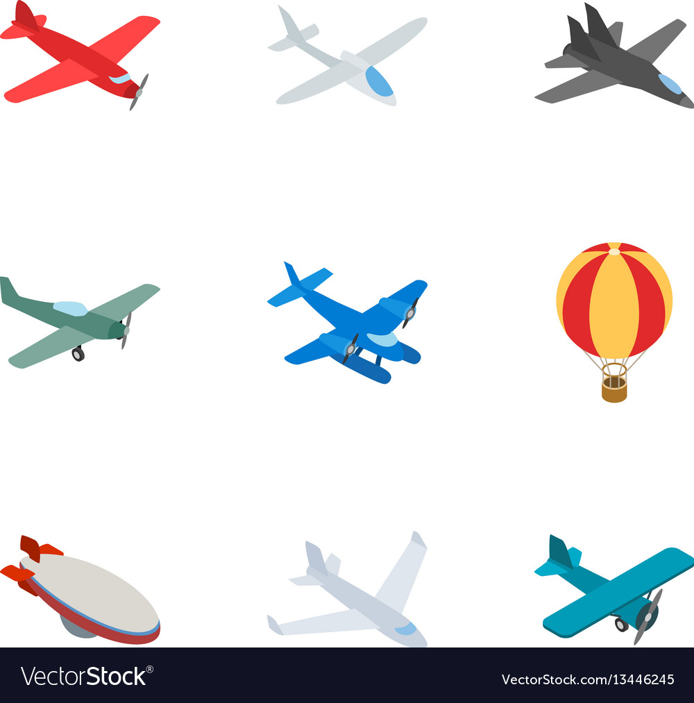 Airplane icons isometric 3d style vector image