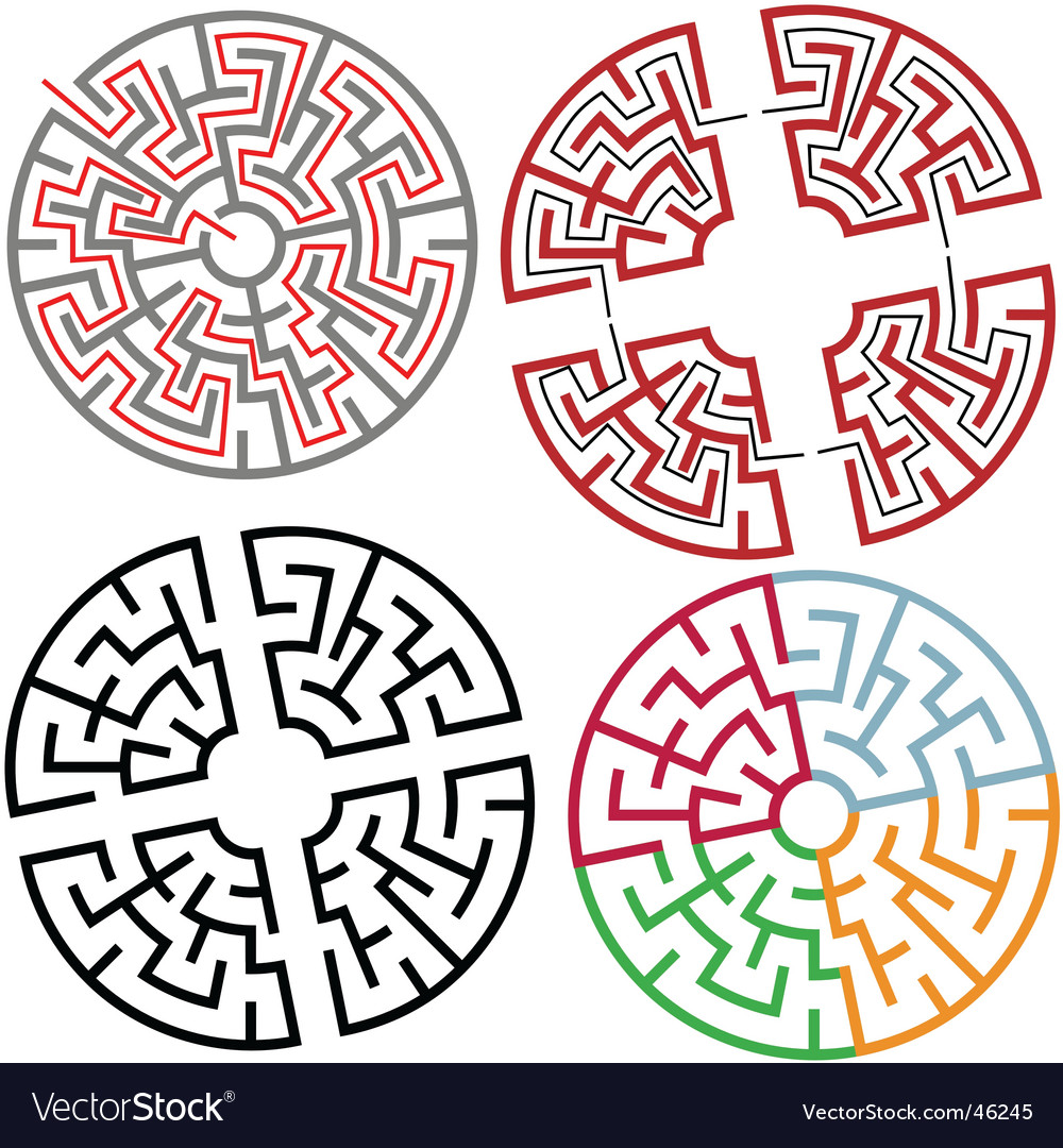 Circle and arc maze puzzle vector image