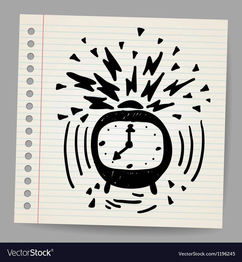 Doodle alarm clock vector image