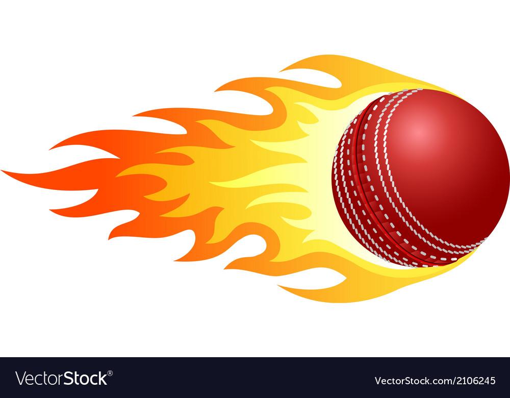 Cricket Vector Background Stock Image: Flaming Cricket Ball Royalty Free Vector Image