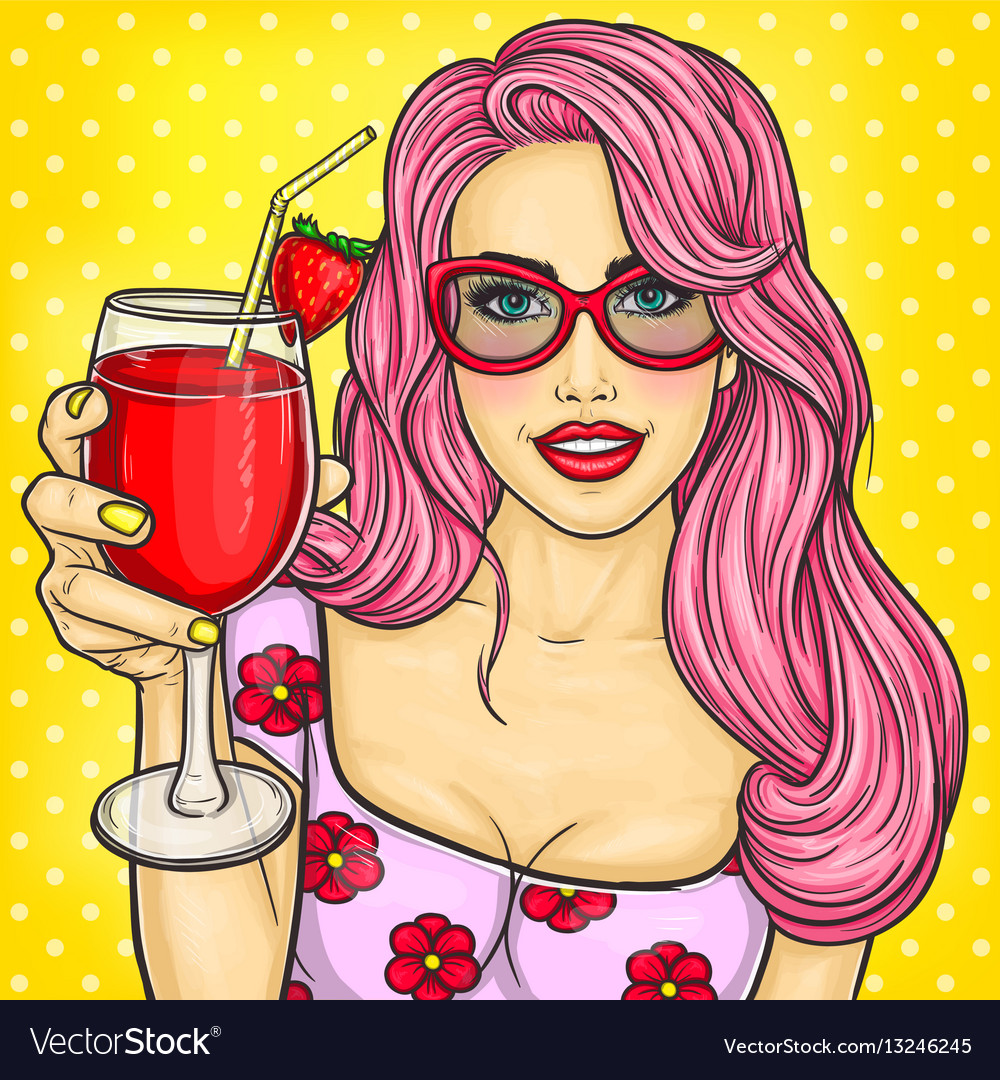 Sexy pop art girl holding a cocktail in her hand vector image