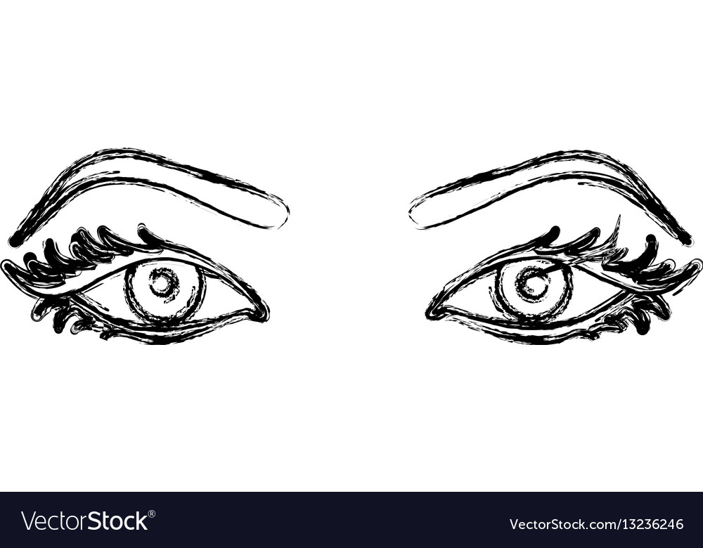 Contour Line Drawing Eye : Contour silhouette woman with eyes open icon vector image