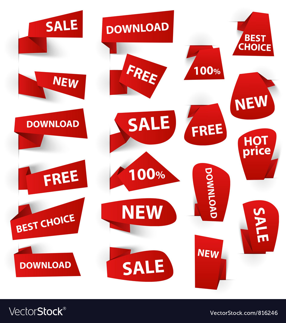 Set of red origami paper banners and stickers vector image