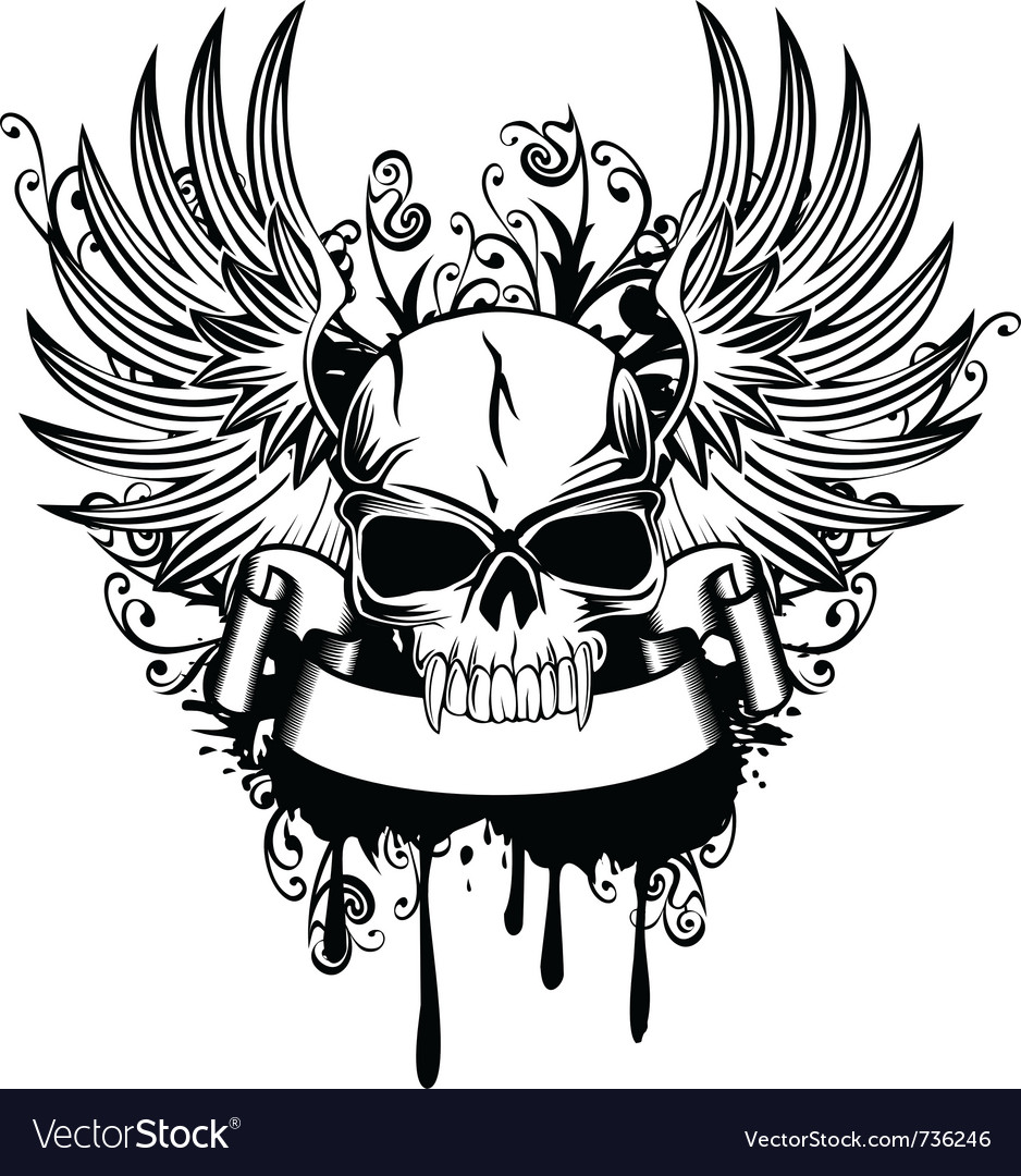 Skull with wings 1 Royalty Free Vector Image - VectorStock