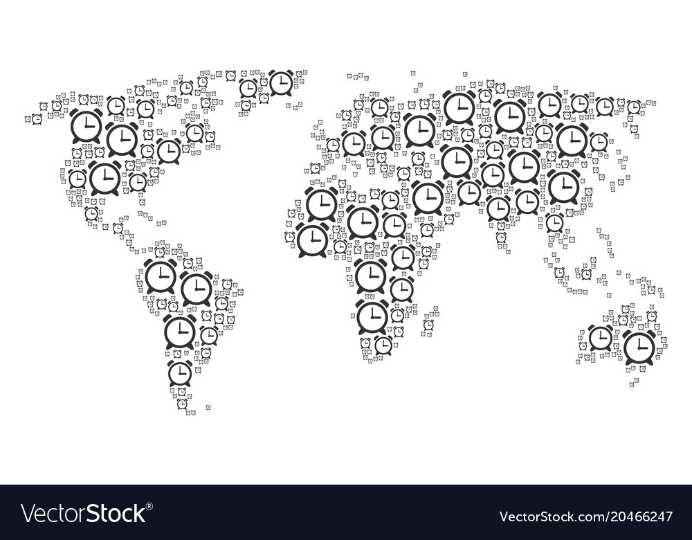 Global map pattern of alarm clock icons royalty free vector global map pattern of alarm clock icons vector image gumiabroncs Images