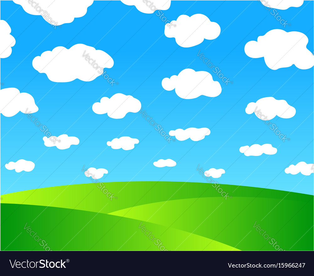 Green meadows and blue sky vector image